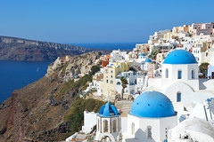 Oia, Santorini (Seventh Heaven Photography *) Tags: oia santorini greek greece island dome church cathedral blue sky water landscape buildings architecture nikond3200 volcano cyclades caldera volcanic rock aegean panorama saint spyridon anastasis