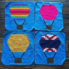 Four crochet balloon panels ready to be joined (crochetbug13) Tags: crochet crocheted crocheting crochetyarnbomb hotairballoon crochethotairballoon