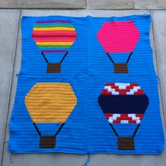 All four panels joined and ready to be installed (crochetbug13) Tags: crochet crocheted crocheting crochetyarnbomb hotairballoon crochethotairballoon