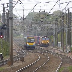 185145 & 66xxx at Durham (10/10/19) (*ECMLexpress*) Tags: first transpennine express class 185 desiro dmu 185145 durham ews db cargo 66 freight locomotive ecml