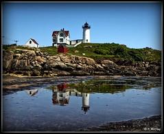 Reflections of Maine (pandt) Tags: nubble light cape neddick maine lighthouse reflection coast coastal outdoor sea ocean rocky canon eos slr 6d flickr lightkeeper sky blue water