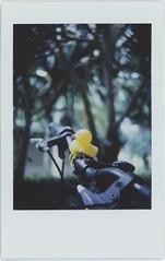 :-) (breeze.kaze) Tags: instantfilm fujiinstaxminifilm mintinstantflextl70 dusk lateafternoon yellowrubberduck bicycle trees bokeh