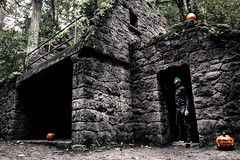 The Witch's Castle (Kikocody) Tags: stonework spooky halloween october fall portland oregon hiking abandoned stone pumpkin moody morning forest park