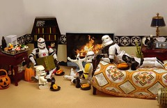 Gathered 'Round the Campfire on the Death Star (ChicaD58) Tags: dscf9453b starwarsactionfigure actionfigure lego stormtrooper clonetrooper stormtrooperbruce stb tk1110 tk432 palpatinesnephew tvcampfire hotdogs colas halloweencupcakes mustard ketchup pumpkin ghost hauntedbookcase gargoylecandleholder book bed bedspread endtable plant lamp tissue mug coffeemaker commemorativedarthbottleofscotch storytime