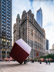 Red Cube (20191010-DSC05265) (Michael.Lee.Pics.NYC) Tags: newyork lowermanhattan architecture cityscape shiftlens sony a7rm4 laowa12mmf28 magicshiftconverter isamunoguchi redcube sculpture publicart 140broadway markdisuvero joiedevivre zuccottipark 125greenwich trinityandusrealtybuildings