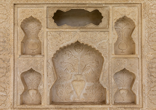 Wall niches in Amer fort and palace, Rajasthan, Amer, India