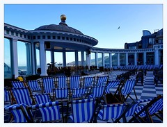 the Spa (overthemoon) Tags: uk england northyorkshire scarborough northeastcoast seaside architecture spa victorian blue deckchairs concertvenue columns seagull