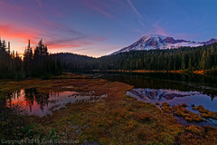 Autumn's Last Hurrah (pdxsafariguy) Tags: rainier nature sky mountain landscape autumn lake reflection forest water peak nationalpark snow glacier tree washington mountrainiernationalpark trees alpine tranquil mountrainier sunset clouds usnationalpark tomschwabel