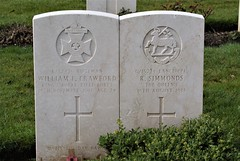 W.F. Crawford, King's Royal Rifle Corps, & R. Simmonds, Royal West Surrey Regiment, War Grave, 1917, St. Albans (PaulHP) Tags: cwgc war grave headstone st albans hatfield road cemetery herts hertfordshire world service number ww1 rifleman wf william fenwick crawford r32476 15 november 1917 2nd bn battalion krrc kings royal rifle corps john 31 candlish street westoe south shields margaret elizabeth lance corporal r ronald simmonds g15274 august 8th queens rwsr west surrey residence kensington middlesex birth yateley hampshire hants enlisted london 53411 rf fusiliers