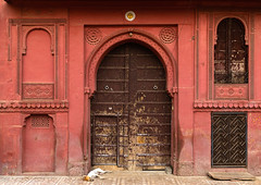 Beautiful wodden door of a haveli in the old city, Rajasthan, Bikaner, India (Eric Lafforgue) Tags: ancient architecture asia beautiful bikaner building colourimage culture day door entrance facade haveli hinduism historic history horizontal houses india india192111 indian landmark nopeople old outdoors rajasthan town traditional travel traveldestination urban windows wood