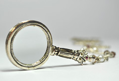 """White Background"" - Looking close...on Friday! (Hoglands) Tags: lookingcloseonfriday whitebackground magnifyingglass jewellery necklace"