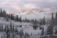 Seasons Change (Darkness of Light) Tags: washington mt rainier tipsoo lake snow fall winter clouds sunrise sunset alpenglow sony a7r3 zeiss 55mm f18