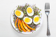 Top view of boiled eggs with micro greens and pieces of bell pepper in a plate on a white wooden background with a fork (wuestenigel) Tags: vegetable fork boiled organic cabbage concept slice cooking raw fresh background healthy chicken salad diet microgreens food closeup ingredient natural nutrition bellpepper egg plate green meal protein yolk white 2019 2020 2021 2022 2023 2024 2025 2026 2027