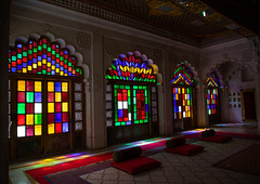 Multi coloured stained glass windows in Mehrangarh fort, Rajasthan, Jodhpur, India (Eric Lafforgue) Tags: ancient architecture asia closed colored colourimage day design fort glass history horizontal india india192313 indian indoors jodhpur mehrangarh merangarh multicoloured nopeople pattern rajasthan stainedglass traveldestination