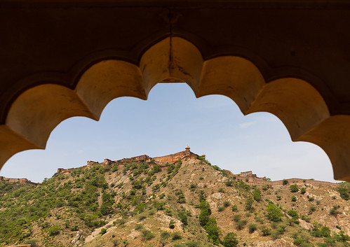Jaigarh fort as seen from the Amer fort, Rajasthan, Amer, India