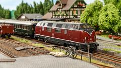 Halt am Bahnsteig (*schmiedi*) Tags: modellbahn modelleisenbahn modelrailroad modelrailway model modell dieselengine diesellok personenzug passengertrain rundumsteinen friedrichshain