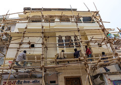 Indian workers on scaffoldings renovating the city palace, Rajasthan, Udaipur, India (Eric Lafforgue) Tags: adults architectural asia builtstructure citypalace colourimage day groupofpeople horizontal india india192338 men outdoors rajasthan renovation renovations repairs scaffolding structures udaipur workers working