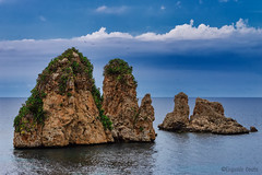 i Faraglioni di Scopello / the Faraglioni of Scopello (Eugenio GV Costa) Tags: approvato mare nuvole roccia roccie nuvola town coast costa sea clouds rock rocks cloud cielo sky