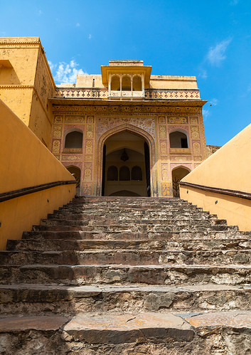 Stairs in Amer fort and palace, Rajasthan, Amer, India