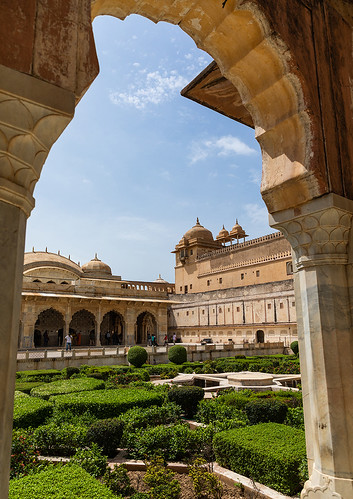 Ornamental garden on terrace at Amer palace, Rajasthan, Amer, India