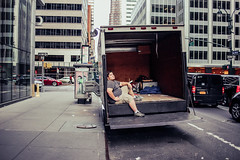 Moving day (Nun Nicer Artist) Tags: 35mm streetphotography newyork worker people manhattan tired exhaustion 35mmstreetphotography travel street nunnicer city citylife