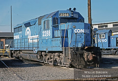Conrail GP35 2288 built for the PRR in 1964 is seen here at Conway, PA after being pulled from storage & being prepared to go back into service in 1988 (Willie - Brown) Tags: williebrownslidecollection wbrown189windstreamnet conrail gp35 conway