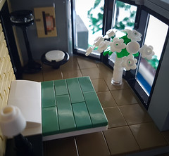 Artsand House MOC. Bedroom with garden view. (betweenbrickwalls) Tags: lego afol moc bedroom interior living home legohome house view