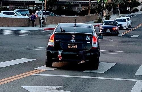 Corpse hanging out of car gag, Burbank, California, USA