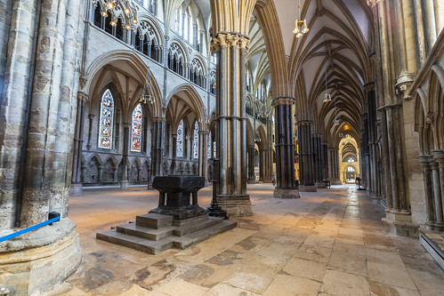 Lincoln Cathedral, font and south aisle
