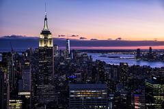 Empire State Building (GirarFly798) Tags: new york newyork newyorkcity ny manhattan sunset hdr lights light long exposure usa united states america travel travelphotography empire state building liberty island world trade center rockefeller top rock