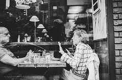 Diner (Nun Nicer Artist) Tags: couple newyork travel restaurant diner manhattan bnw monochrome citylife blackandwhite streetphotography nunnicer 35mmstreetphotography