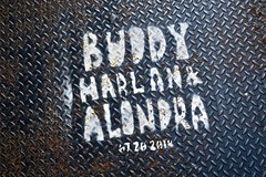 Buddy Harlan & Alondra, Manchester, UK (Robby Virus) Tags: manchester england uk unitedkingdom britain greatbritain gb buddy harlan alondra white stencil graffiti metal plate rca records ad advertisement rap rapper