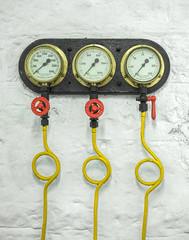 Pressure drop (grbush) Tags: dials meters pressure industrial machinery pipe circle valves sonyilce7 three trio