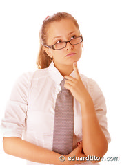 Businesswoman in glasses (balalaka_monpasier) Tags: assured boss business businesslady businesspeople businessteam businesswomen career chief coworkers conference copy copyspace glasses executive female friendly happiness isolated job lady manager meeting occupation office partnership people person portrait purposeful serious shirt solid space success successful suit team teamwork tie white woman work young