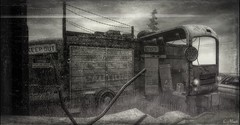 Caution (Loegan Magic) Tags: secondlife junk blackandwhite vintage truck landscape