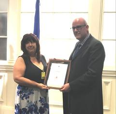 NOVA SCOTIA/NOUVELLE-ÉCOSSE: Award recipient/lauréate Danita Curwin, with/avec the Honorable/l'honorable Labi Kousoulis, Minister of Labour and Advanced Education/ministre du Travail et de l'Éducation postsecondaire