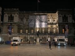 Trip hazard (roadscum) Tags: england london piccadilly royalacademyofarts antonygormley castiron baby flag unionjack crew goinghome lvt mercedes sprinter daf lf van lorry statue banner night