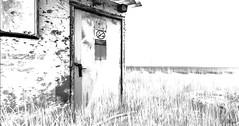 Straight Past (Loegan Magic) Tags: secondlife train tracks station shed sketch blackandwhite vintage door grass landscape
