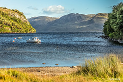 "Bay called ""Ceann t-Saideil,"" Loch Morar's north shore. (Scotland by NJC.) Tags: lakes lochs reservoirs waters meres tarns ponds pool lagoon lago 湖 jezero 호수 innsjø jezioro lac озеро mountains hills highlands peaks fells massif pinnacle ben munro heights جَبَلٌ montanha montaña vuori montagne βουνό montagna fjell boat barge ""cabin cruiser"" ""canal boat"" canoe ""fishing مَرْكَب barco nave ボート 배 båt łódź barcă lochmorar ceanntsaideil scotland"
