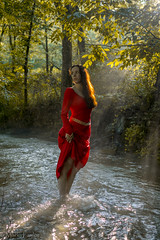 Lothlórien, in the stream of the Nimrodel (*Ranger*) Tags: red nikond3300 woman lady model fantasy lordoftherings water stream forest photoshoot mist fog sunbeam sunray