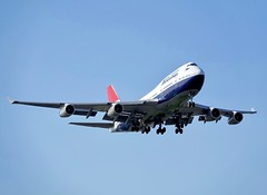 Landing Memories (Deepgreen2009) Tags: retro livery colours centenary commemorative boeing747436 jumbo landing approach heathrow airport classic aeroplane airliner aircraft heavy arrival transport flight