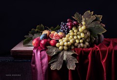 Inspired by Old Masters (saraghedina) Tags: oldmaster painting replica fabric texture velvet autumn leaves figs grapes paulbuff artificiallight studiolighting vintage chiaroscuro horizontal nopeople tabletop fruit 50mm canon harvest fall nature stilllife