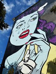 Wall mural (sharon'soutlook) Tags: wallart wallmural woman cartoon blueskies art otr overtherhine cincinnati ohio blink 2019