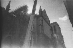 construction on Notre Dame (fidelma.oriordan) Tags: 35mm film filmphotography photography olympus mju ii bw blackandwhite black white paris notre dame