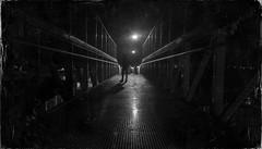 POINT OF NO RETURN (PeachySick11) Tags: night street bridge noche puente light farola streetlight backlithing lighting luz iluminacion calle town urban urbano vintage lofi retro grunge dust polvo rascaduras efecto photoshop black n whit bn bw dark oscuro darkness oscuridad silhouette silueta depression sad sadness tristeza depresion fence valla