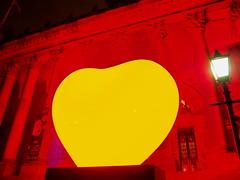 Light Night Love Heart (oneofmanybills) Tags: love heart leeds town hall red yellow lightnight art installation olympus