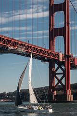 D29486E7 - Sailing Under The Golden Gate Bridge (Bob f1.4) Tags: golden gate bridge red painted san francisco ca california water motoring boat motor sailboat sail sailing plenty wind salt pacific ocean bay tower