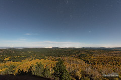 Moonlit Foliage (kevin-palmer) Tags: blackhills blackhillsnationalforest wyoming cementridge fall autumn october evening nikond750 color colorful foliage clouds night sky stars starry astronomy astrophotography blue moonlight north trees moonlit sigma14mmf18