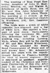 1920 - Schermier Easterday wedding - South Bend News Times - 18 Jun 1920