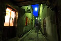 Le spectre de la rue de la Levrette... (Tonton Gilles) Tags: normandie heure bleue alençon silhouette bar pose vert transparent spectre lumières transparence fantôme personnage longue lampadaires réverbères verdâtre ectoplasme en de porte paysage rue urbain orangé scène mise